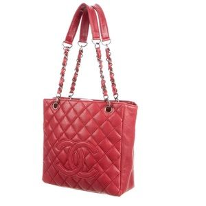 Chanel caviar red petite shopping tote leather